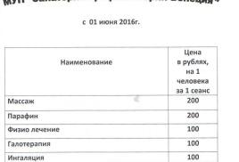 """Расценки на лечение МУП """"санаторий-профилакторий венеция"""""""